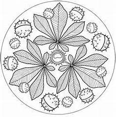 Malvorlagen Mandala Herbst Mandala Kastanje Blad Mandala Ausmalen Herbst