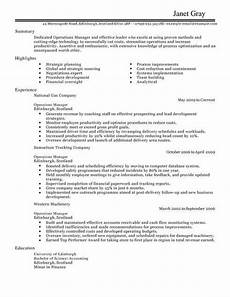 operations manager cv template cv sles exles