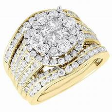 diamond bridal 14k yellow gold 3 piece princess