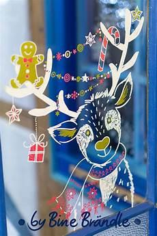 Fensterbilder Weihnachten Vorlagen Rentier Ein Witzig S 252 223 Es Rentier Mit Lebkuchenmann Und