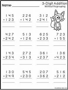 math worksheets for grade 3 addition with regrouping 9250 3 digit addition without regrouping worksheets by learning desk tpt