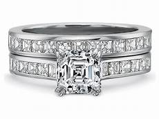 engagement ring asscher diamond engagement ring square diamonds band bridal 1 65tcw es900acbs