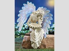 Solar Angel Garden Sitter with Fiber Optic Wings   Garden