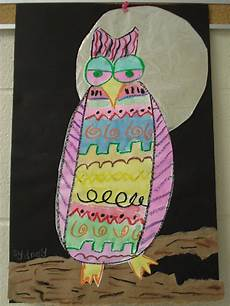 color for everyone mixed media owls second grade
