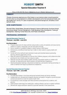 special education teacher resume sles qwikresume