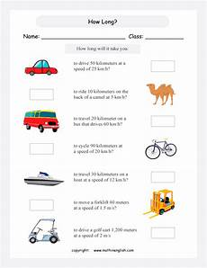 calculate time of travel how printable grade 5 math worksheet