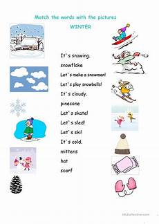 free worksheets for winter 20169 winter matching worksheet worksheet free esl printable worksheets made by teachers