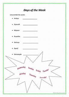 days of the week worksheet free esl printable worksheets made by teachers