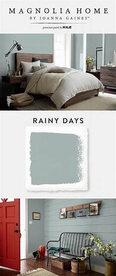 the light blue gray hue of rainy days from the magnolia home by joanna gaines paint collection