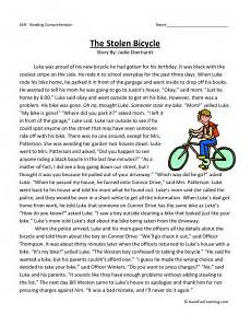 free tale worksheets for 3rd grade 15002 reading comprehension worksheet the stolen bicycle exercice anglais texte anglais et