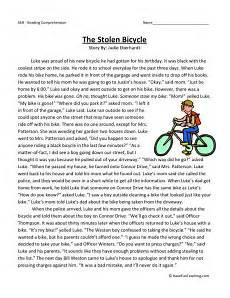 poetry comprehension worksheets third grade 25368 reading comprehension worksheet the stolen bicycle exercice anglais texte anglais et
