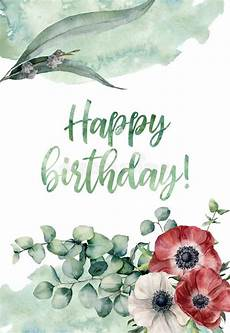 watercolor happy birthday floral card painted print