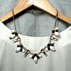 black white statement white and black statement necklace by gama