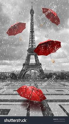 eiffel tower with flying umbrellas black and white with