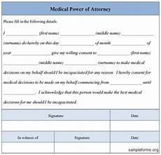 medical power of attorney form sle forms