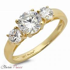 1 50ct three stone diamond simulant ring engagement wedding band 14k yellow gold ebay
