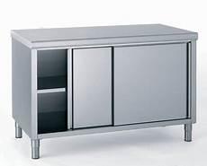 meuble de rangement bas inox 2 portes coulissantes l