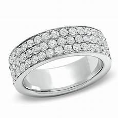 1 1 2 ct t w diamond triple row anniversary band in 14k white gold anniversary gifts gift