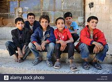 Group of young Muslim boys in Sana'a Yemen. They are