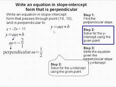 write an equation in slope intercept form that is perpendicular youtube