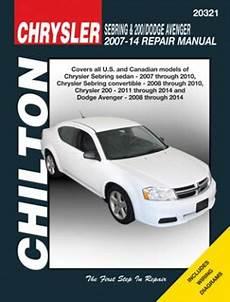 electric and cars manual 2007 chrysler sebring on board diagnostic system chrysler sebring 200 dodge avenger chilton repair manual 2007 2014 hay20321
