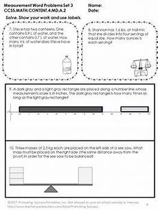 4th grade measurement word problems worksheets for practice or review