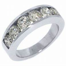 mens 2 carat brilliant cut diamond ring wedding band 14kt white gold ebay