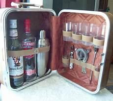 mobili shaker vintage portable travel bar w tools suitcase