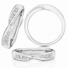 9ct white gold diamond crossover wedding ring the