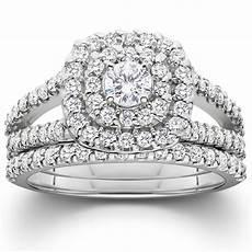 1 1 10ct cushion halo diamond engagement wedding ring 10k white gold ebay