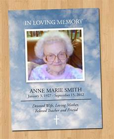 Etsy Photo Card Templates 5x7 Photo Funeral Card Diy Print 1 Sided By Echosinink On