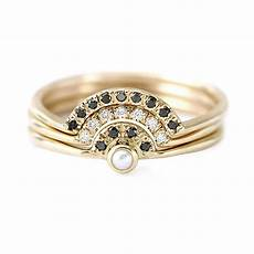 pearl engagement ring with diamonds three rings wedding artemer