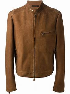 lyst tom ford leather jacket in brown for