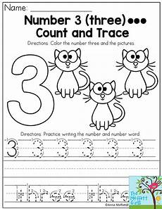 three letter worksheets for kindergarten 23540 number 3 count color and trace the number three this packet has numbers 1 5 plus tons of