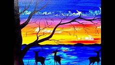 beginners acrylic painting tutorial deer and sunset lake silhouette youtube