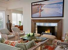 neutral living room with big tv hgtv