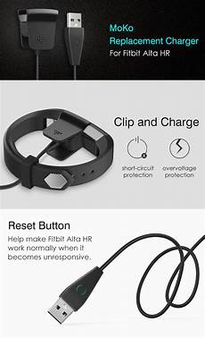com moko fitbit alta hr charger with reset button replacement usb charger charging
