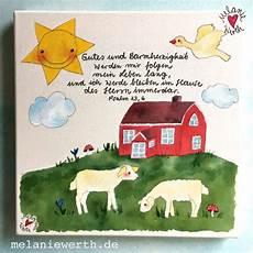 kleines geschenk zur taufe schwedenhaus mit schafen kinderzimmerbild mit taufspruch