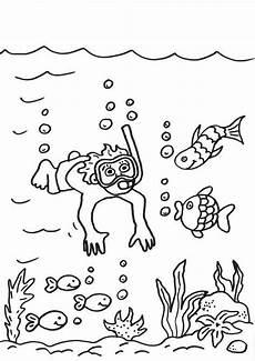 Ausmalbild Sommer Grundschule Kostenlose Malvorlage Sommer Taucher Im Meer Ausmalen Zum