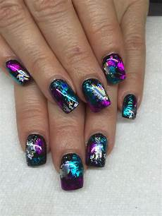 nails muster gel nails with transfer foils by fox