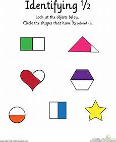 identifying the fraction 1 2 worksheet education com
