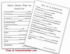 grammar worksheets there their they re 24988 their they re there its it s free practice sheets homeschool den
