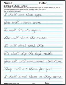 cursive writing sentences worksheets free 22145 easy sentences in past present and future