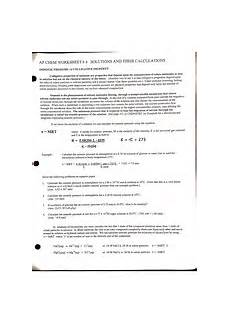 osmotic pressure worksheet ap chem worksheet 4 solutions and their calculations osmotic