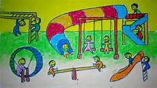 Cara Menggambar Taman Bermain Anak Untuk Anak Sd
