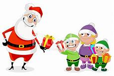 cadeau pere noel santa and his elves exchanging gifts stock
