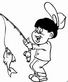 junge angelt fisch ausmalbild malvorlage comics