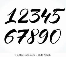 lettering zahlen calligraphy numbers images stock photos vectors