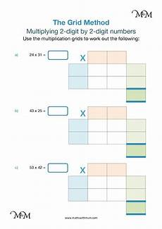 grid method multiplying two digit numbers maths with