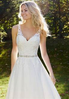 venice lace appliques adorn the fitted bodice of this mori lee 3214r wedding dre 3214r